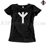 Algiz Rune Ladies' T-Shirt-satanic-clothing-heathen-merchandise-by-ASP Culture