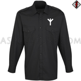 Algiz Rune Long Sleeved Light Military Shirt-satanic-clothing-heathen-merchandise-by-ASP Culture
