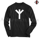 Algiz Rune Long Sleeved T-Shirt-satanic-clothing-heathen-merchandise-by-ASP Culture