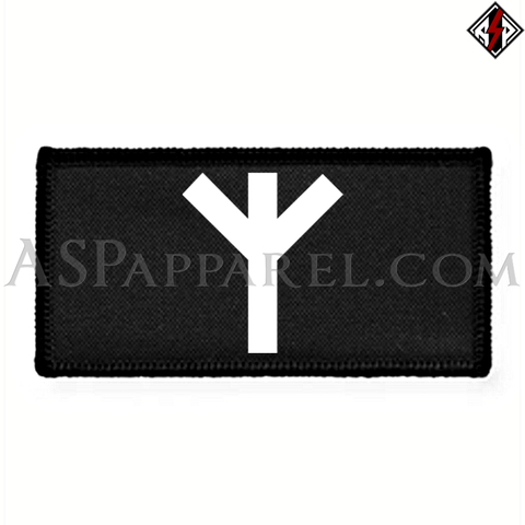 Algiz Rune Rectangular Patch-satanic-clothing-heathen-merchandise-by-ASP Culture