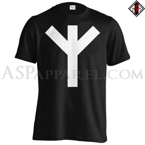 Algiz Rune T-Shirt - Large Print-satanic-clothing-heathen-merchandise-by-ASP Culture