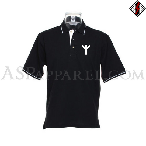Algiz Rune Tipped Polo Shirt-satanic-clothing-heathen-merchandise-by-ASP Culture