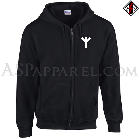 Algiz Rune Zipped Hooded Sweatshirt (Hoodie)-satanic-clothing-heathen-merchandise-by-ASP Culture
