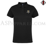 Anton LaVey Sigil Deluxe Ladies' Polo Shirt-satanic-clothing-heathen-merchandise-by-ASP Culture