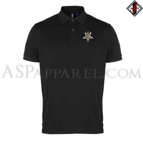 Anton LaVey Sigil Deluxe Polo Shirt-satanic-clothing-heathen-merchandise-by-ASP Culture