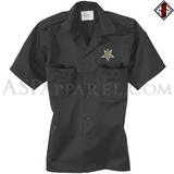 Anton LaVey Sigil Deluxe Short Sleeved Heavy Military Shirt-satanic-clothing-heathen-merchandise-by-ASP Culture