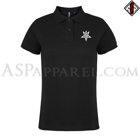 Anton LaVey Sigil Ladies' Polo Shirt-satanic-clothing-heathen-merchandise-by-ASP Culture