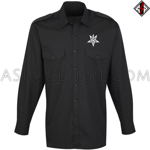 Anton LaVey Sigil Long Sleeved Light Military Shirt-satanic-clothing-heathen-merchandise-by-ASP Culture