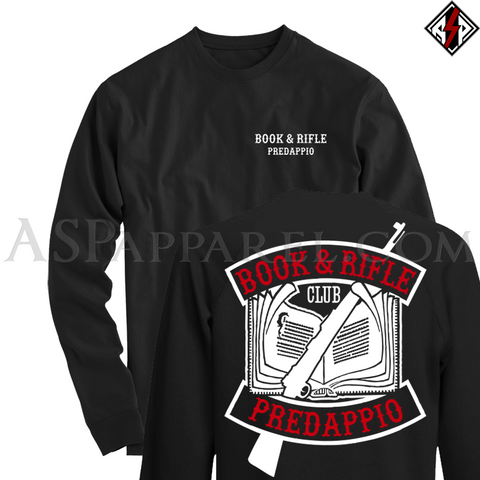 Book and Rifle Club Deluxe Long Sleeved T-Shirt-satanic-clothing-heathen-merchandise-by-ASP Culture