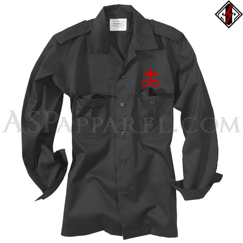 Brimstone Symbol Long Sleeved Heavy Military Shirt-satanic-clothing-heathen-merchandise-by-ASP Culture