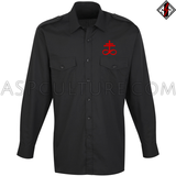 Brimstone Symbol Long Sleeved Light Military Shirt-satanic-clothing-heathen-merchandise-by-ASP Culture