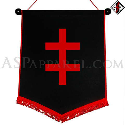 Double Cross (Cross of Lorraine) Chevron Pennant-satanic-clothing-heathen-merchandise-by-ASP Culture