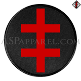 Double Cross (Cross of Lorraine) Circular Patch-satanic-clothing-heathen-merchandise-by-ASP Culture