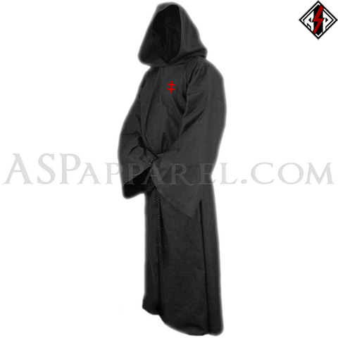 Double Cross (Cross of Lorraine) Hooded Ritual Robe-satanic-clothing-heathen-merchandise-by-ASP Culture