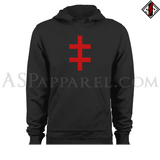 Double Cross (Cross of Lorraine) Hooded Sweatshirt (Hoodie)-satanic-clothing-heathen-merchandise-by-ASP Culture
