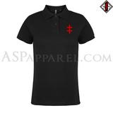 Double Cross (Cross of Lorraine) Ladies' Polo Shirt-satanic-clothing-heathen-merchandise-by-ASP Culture
