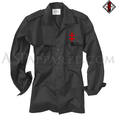 Double Cross (Cross of Lorraine) Light Military Jacket-satanic-clothing-heathen-merchandise-by-ASP Culture