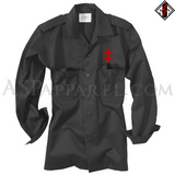 Double Cross (Cross of Lorraine) Long Sleeved Heavy Military Shirt-satanic-clothing-heathen-merchandise-by-ASP Culture