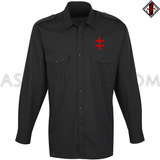 Double Cross (Cross of Lorraine) Long Sleeved Light Military Shirt-satanic-clothing-heathen-merchandise-by-ASP Culture