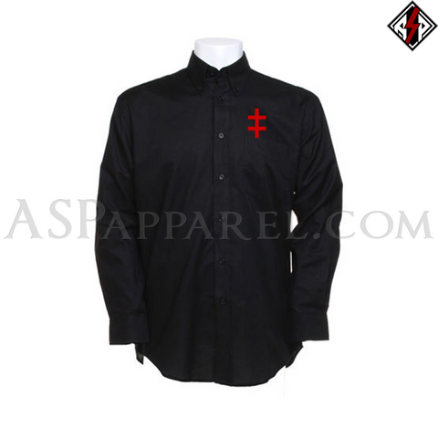 Double Cross (Cross of Lorraine) Long Sleeved Shirt-satanic-clothing-heathen-merchandise-by-ASP Culture