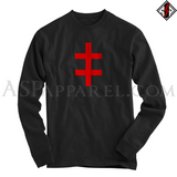Double Cross (Cross of Lorraine) Long Sleeved T-Shirt-satanic-clothing-heathen-merchandise-by-ASP Culture
