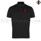 Double Cross (Cross of Lorraine) Polo Shirt-satanic-clothing-heathen-merchandise-by-ASP Culture