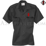 Double Cross (Cross of Lorraine) Short Sleeved Heavy Military Shirt-satanic-clothing-heathen-merchandise-by-ASP Culture