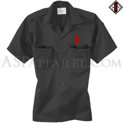 Double Cross (Cross of Lorraine) Short Sleeved Heavy Military Shirt