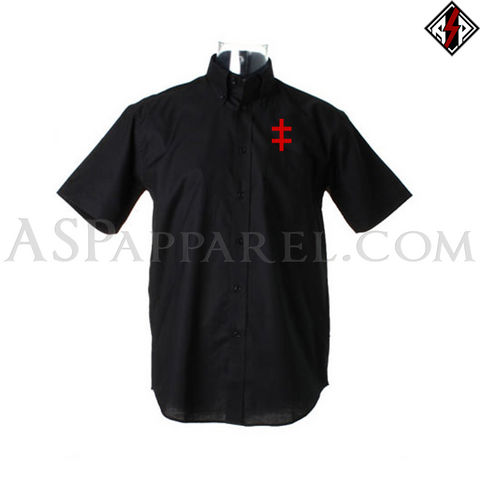 Double Cross (Cross of Lorraine) Short Sleeved Shirt-satanic-clothing-heathen-merchandise-by-ASP Culture