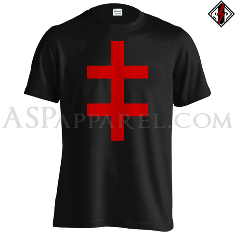 Double Cross (Cross of Lorraine) T-Shirt - Large Print-satanic-clothing-heathen-merchandise-by-ASP Culture