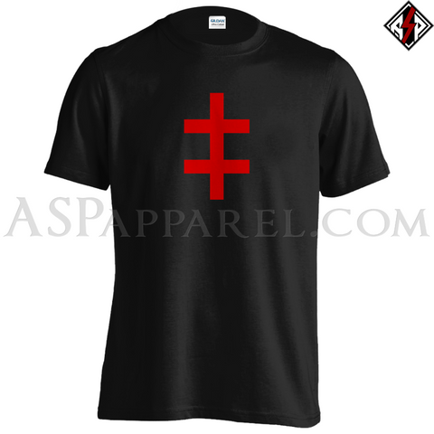 Double Cross (Cross of Lorraine) T-Shirt-satanic-clothing-heathen-merchandise-by-ASP Culture