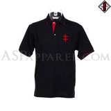 Double Cross (Cross of Lorraine) Tipped Polo Shirt-satanic-clothing-heathen-merchandise-by-ASP Culture
