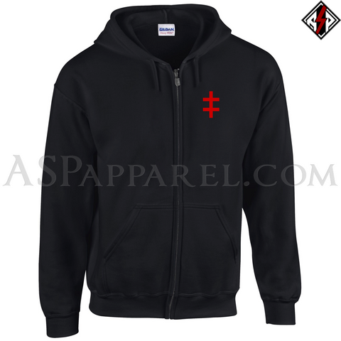 Double Cross (Cross of Lorraine) Zipped Hooded Sweatshirt (Hoodie)-satanic-clothing-heathen-merchandise-by-ASP Culture