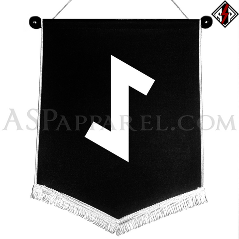 Eihwaz Rune Chevron Pennant-satanic-clothing-heathen-merchandise-by-ASP Culture