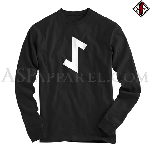 Eihwaz Rune Long Sleeved T-Shirt-satanic-clothing-heathen-merchandise-by-ASP Culture