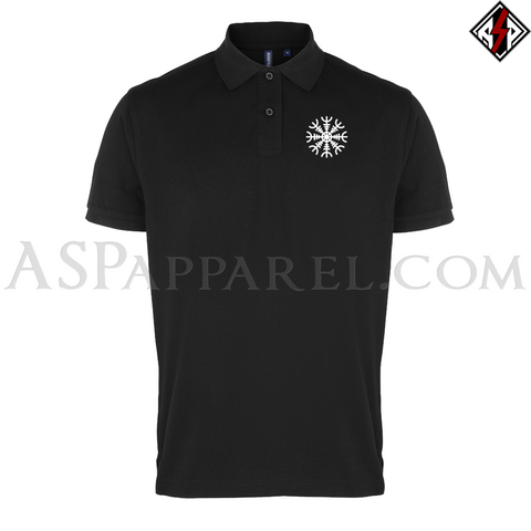 Helm of Awe (Aegishjalmur) Polo Shirt-satanic-clothing-heathen-merchandise-by-ASP Culture