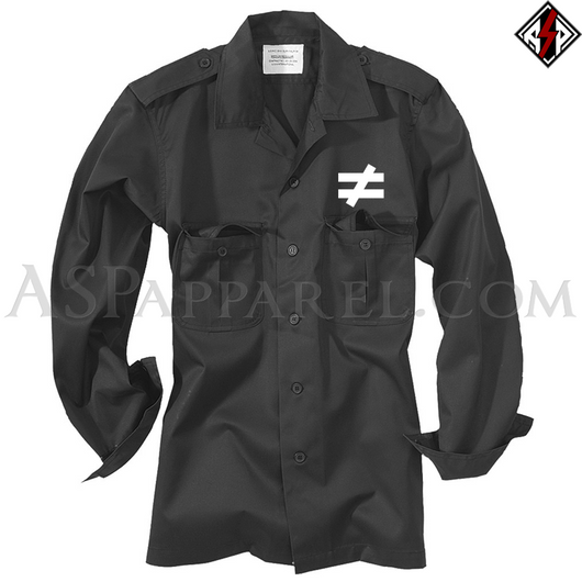 Inequality Symbol Long Sleeved Heavy Military Shirt