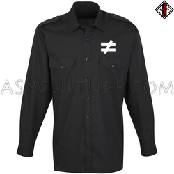 Inequality Symbol Long Sleeved Light Military Shirt
