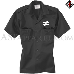 Inequality Symbol Short Sleeved Heavy Military Shirt