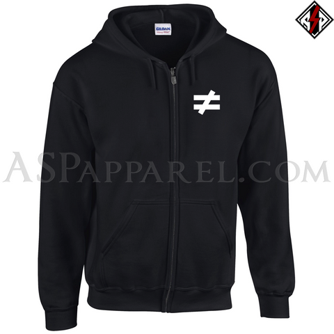 Inequality Symbol Zipped Hooded Sweatshirt (Hoodie)