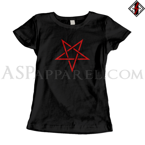 Interwoven Pentagram Ladies' T-Shirt-satanic-clothing-heathen-merchandise-by-ASP Culture