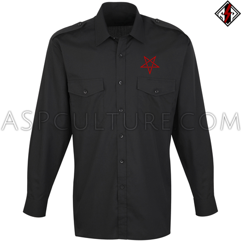 Interwoven Pentagram Long Sleeved Light Military Shirt-satanic-clothing-heathen-merchandise-by-ASP Culture