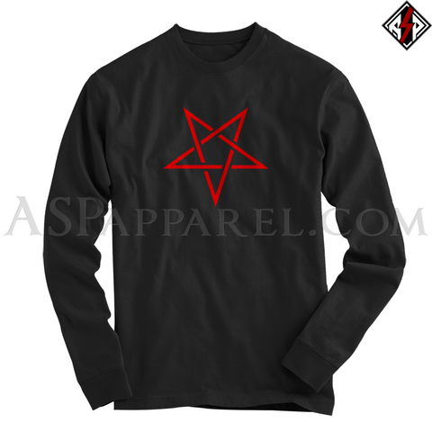 Interwoven Pentagram Long Sleeved T-Shirt-satanic-clothing-heathen-merchandise-by-ASP Culture