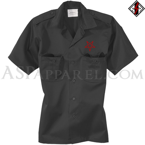 Interwoven Pentagram Short Sleeved Heavy Military Shirt-satanic-clothing-heathen-merchandise-by-ASP Culture