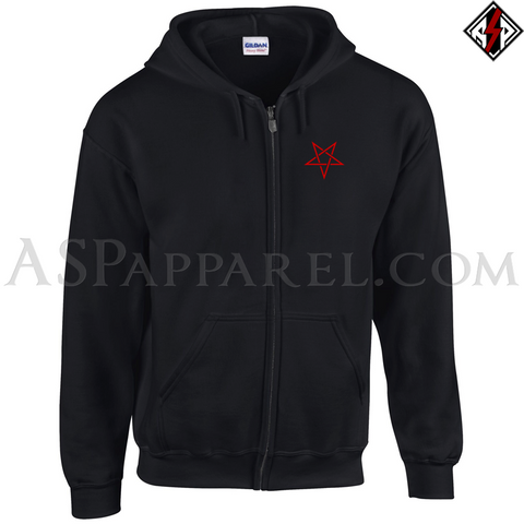 Interwoven Pentagram Zipped Hooded Sweatshirt (Hoodie)-satanic-clothing-heathen-merchandise-by-ASP Culture