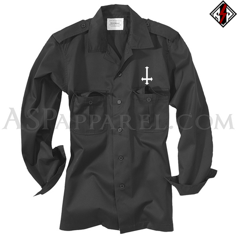 Inverted Cross Long Sleeved Heavy Military Shirt-satanic-clothing-heathen-merchandise-by-ASP Culture