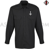 Inverted Cross Long Sleeved Light Military Shirt-satanic-clothing-heathen-merchandise-by-ASP Culture