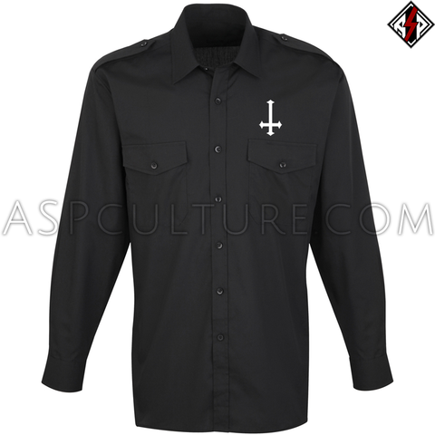 Inverted Cross Long Sleeved Light Military Shirt