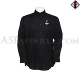 Inverted Cross Long Sleeved Shirt-satanic-clothing-heathen-merchandise-by-ASP Culture