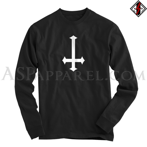 Inverted Cross Long Sleeved T-Shirt-satanic-clothing-heathen-merchandise-by-ASP Culture